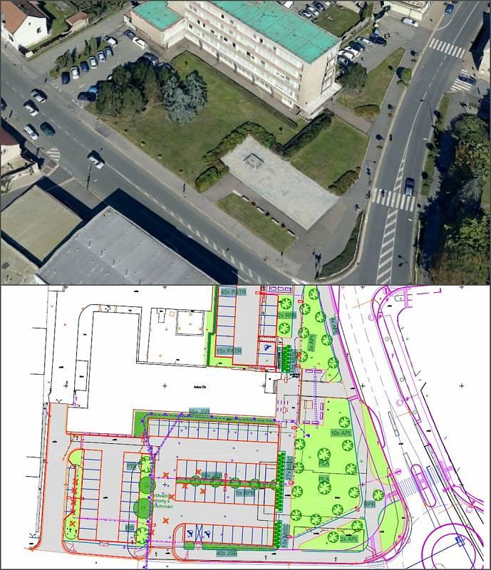 Vizualizace nového parkoviště před budovou ředitelství Policie ČR v Nymburce.