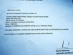Dopis, který poslala jednatelka mrazíren poškozenému podnikateli ze Sadské.