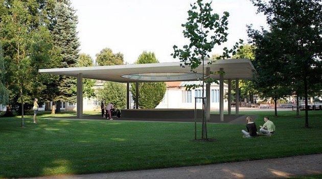 Vizualizace altánu, který se po několika odkladech a technických úpravách objeví v lázeňském parku na podzim.