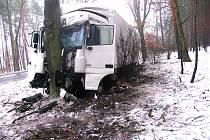 Kamion po nárazu do stromu