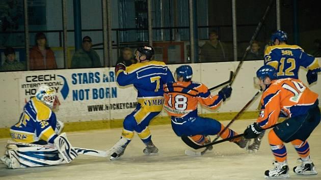 Z utkání druhé hokejové ligy Nymburk - Hodonín (6:7 po SN)