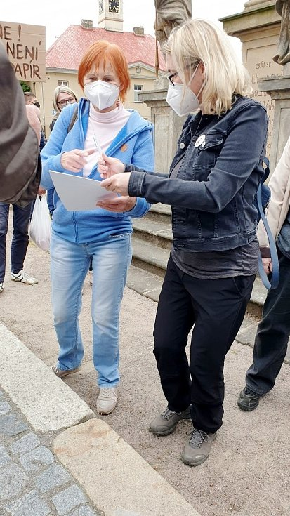Na náměstí v Sadské se sešly asi dvě desítky odpůrců prezidenta Miloše Zemana.
