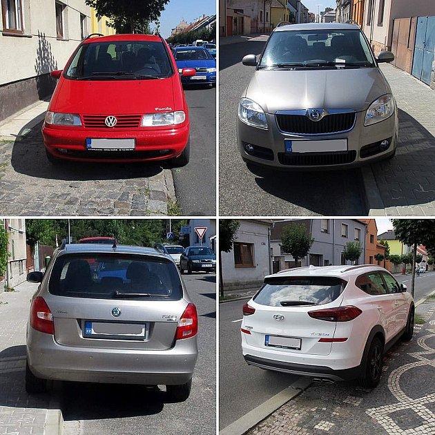 Řidiči parkují vPurkyňově ulici na chodníku.