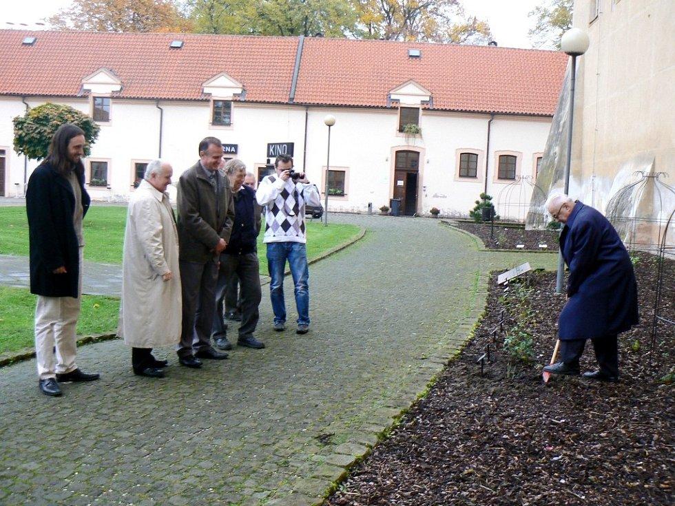SLAVNOSTNÍ chvíle sázení růže Miloslava Kardinála Vlka jím osobně do poděbradského rozária na prvním nádvoří zámku. Svou růži už zde mají herci ocenění Křišťálovou růží, ale například i velvyslanci Španělska a Mexika, kteří Poděbrady navštívili.