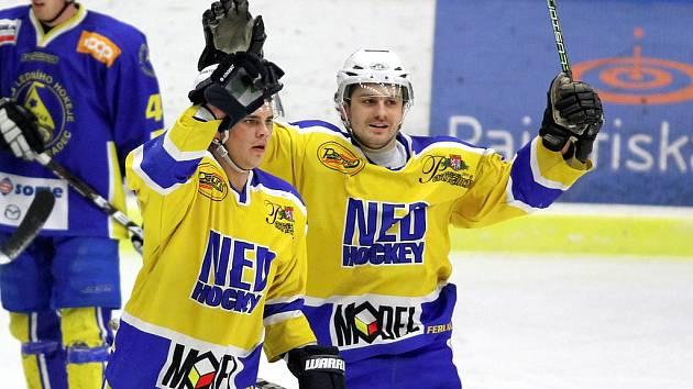 Gólovou radost si užili hokejisté Nymburka na ledě Jindřichova Hradce dvakrát. To jim ale na výhru nestačilo, neboť domácí dali tři branky a na zápasy vedou dva nula