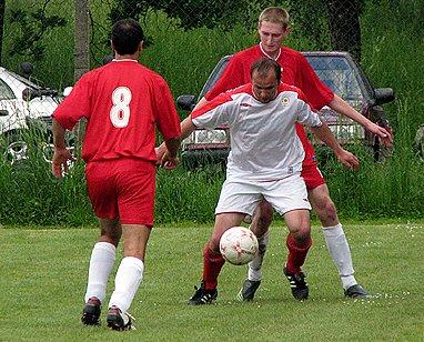 Ze zápasu I.B třídy skupiny B. Ostrá - Lysá (2:0).