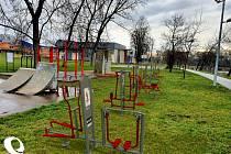 Vizualizace workoutového hřiště v Poděbradech.