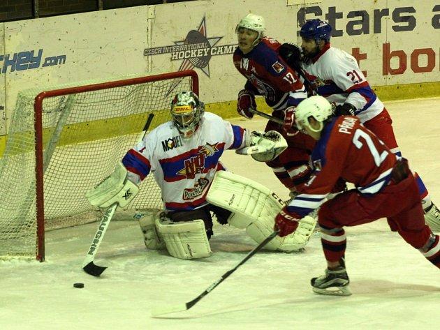 Z hokejového utkání druhé ligy Nymburk - Havlíčkův Brod (4:10)