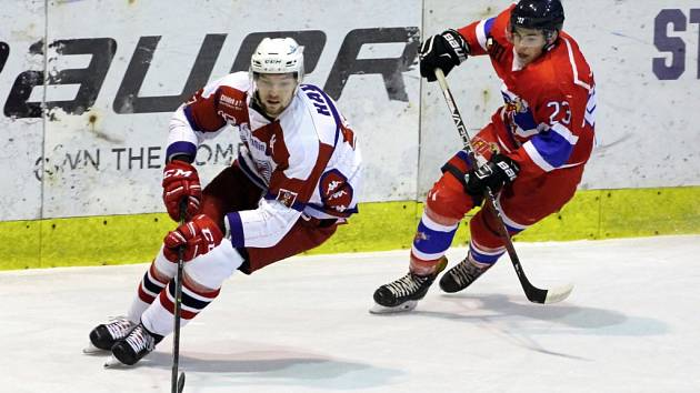 Z utkání druhé hokejové ligy Nymburk - Havlíčkův Brod (2:1 sn)