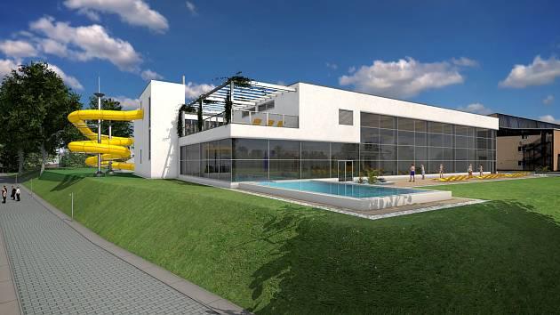 Vizualizace nového bazénu za zimním stadionem.