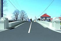 Vizualizace budoucího mostu v Libici nad Cidlinou.