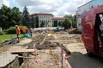 Situace na stavbě druhého kruhového objezdu v Nymburce.