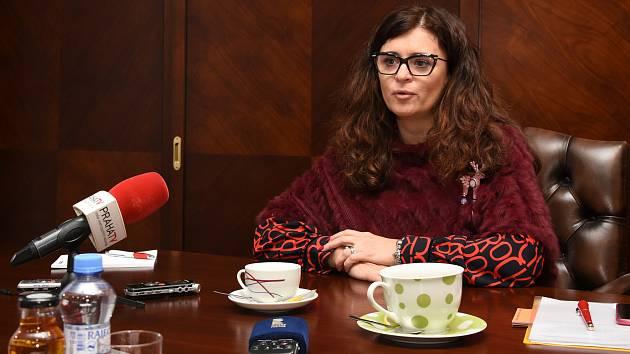 S novináři se ve čtvrtek 12. prosince 2019 setkala hejtmanka Středočeského kraje Jaroslava Pokorná Jermanová (ANO).
