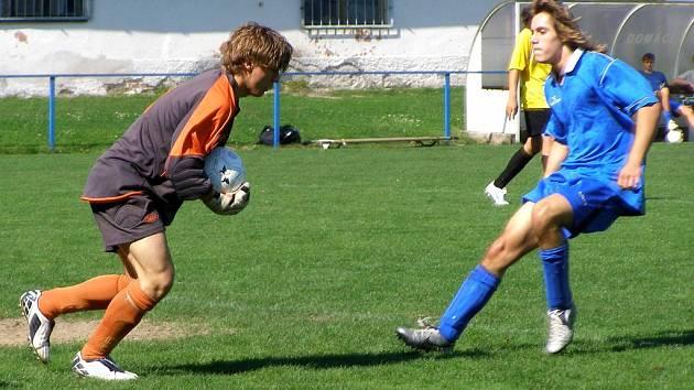 Nymburský brankář Pulda inkasoval v zápase se Starou Boleslaví pouze jednou a i díky tomu jeho tým vyhrál 2:1