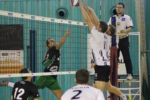 Z volejbalového utkání první ligy Nymburk - Beskydy (0:3)