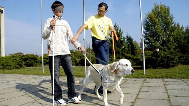 Školáci na Loučeni si zkoušeli, jak se žije nevidomým.