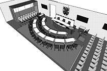 Vizualizace zasedací místnosti č. 8 na poděbradské radnici.
