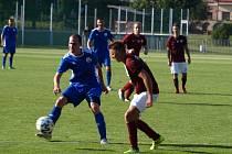 Z fotbalového utkání krajského přeboru Bohemia Poděbrady - Povltavská FA B (2:2)