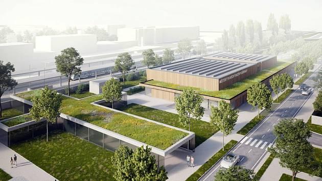 Celkové pohled na bazén, jehož části střech by měla pokrývat zeleň.