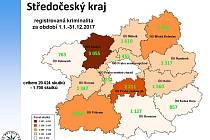 Statistika kriminality v roce 2017 ve Středočeském kraji.