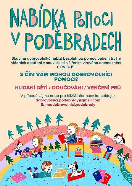 Kontakty na dobrovolníci jsou uvedeny na plakátě.