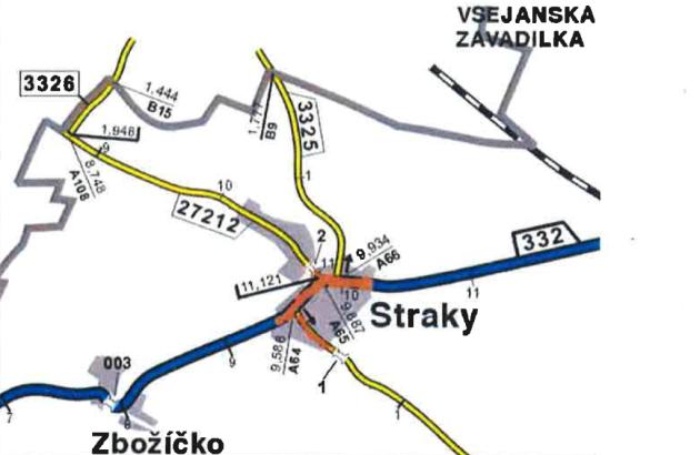 """Plánek kakci """"II/332, III/27212, III/3323 Straky"""""""