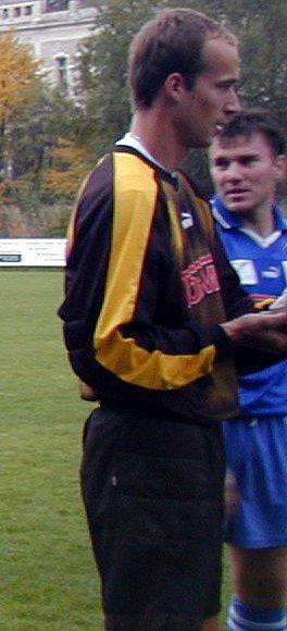 Brankář Václav Rathouský.