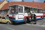 Ukázka vyprošťování v podání hasičů na sadském náměstí