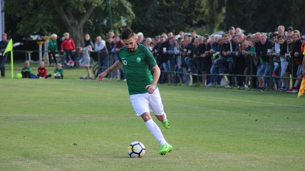 Z fotbalového utkání ČFL Polaban Nymburk - Vyšehrad