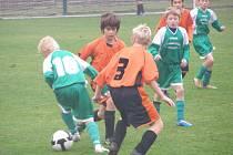 Z fotbalového utkání mladších žáků Polabanu Nymburk v divizním střetnutí s Rychnovem nad Kněžnou (0:10)