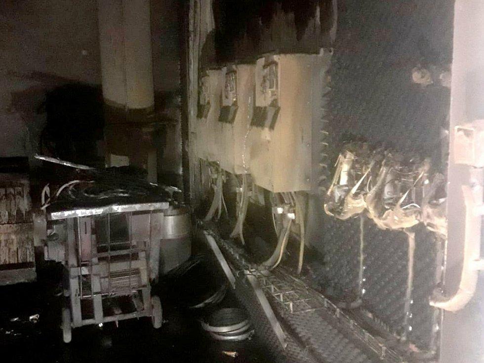 Požár v kompresorovně čistírny odpadních vod v Poděbradech.