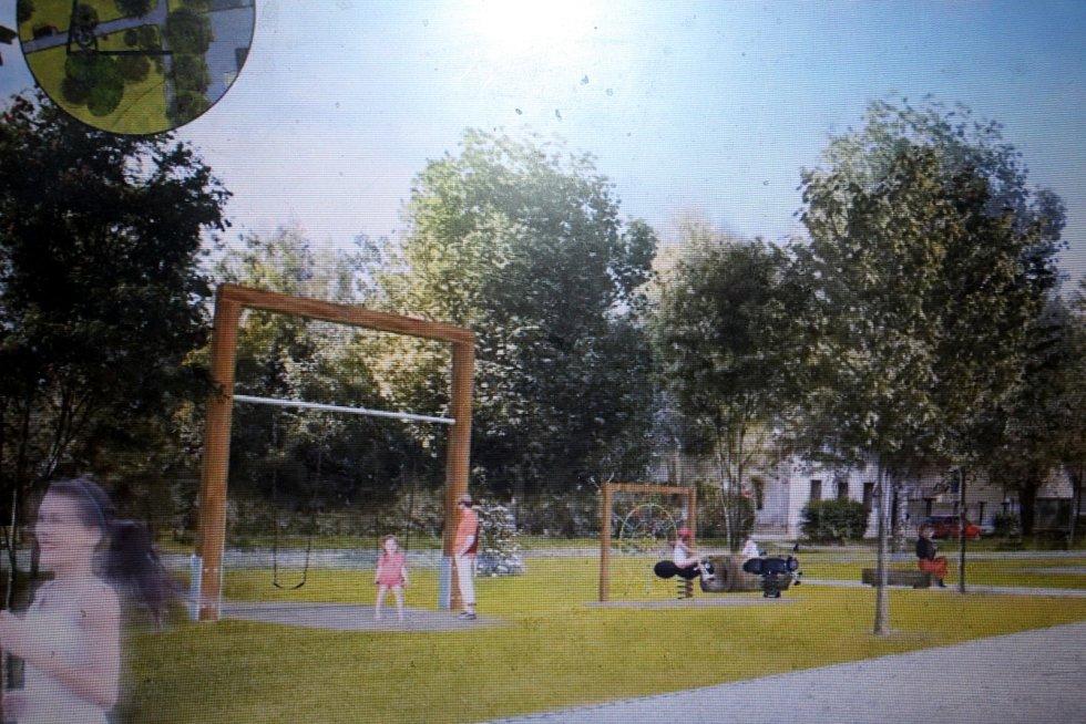 Vizualizace prvků, které mají osvěžit park Dr. Brzoráda v Nymburce.