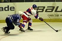 Z hokejového přípravného utkání Nymburk - Kolín (3:7)