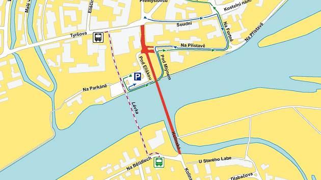 Mapa autobusových linek při uzavírce mostu přes Labe.