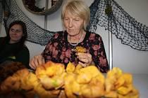 Na výstavišti hodnotili mošty, ženy pletly kytice z listí a Skamene se podepsal každému.