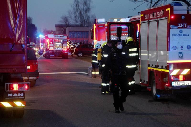 Požár bývalé výtopny na sídlišti v Jankovicích v Nymburce.