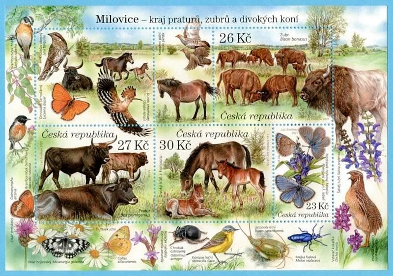 Aršík se známkami věnovanými milovické přírodní rezervaci.
