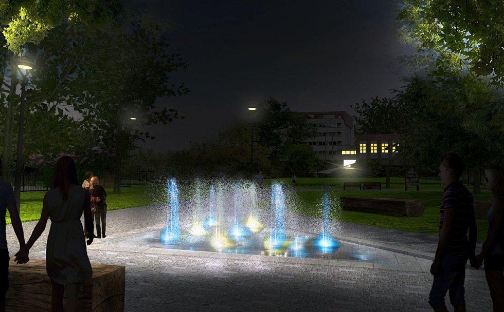 Vizualizace vodního prvku v parku Dr. Brzoráda.