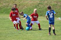 Malí fotbalisté se honí na míčem.