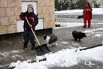 První letošní sníh v Poděbradech.