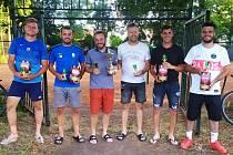 Nejlepší na míčovém sedmiboji v Sadské. Zleva Drobný, Mejzr, Kyncl, Motl, Vlasák, Studnička