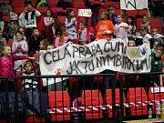 Z basketbalového utkání Kooperativa NBL: Nymburk - USK Praha 101:56.