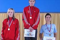 Třetí místo získala v kladenském bazénu další reprezentantka LoNy Pavla Zábrahová (vpravo)