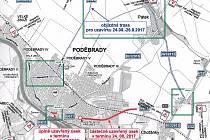 Mapa uzavírek, které čekají Poděbraďáky i návštěvníky města kvůli festivalu Soundtrack.