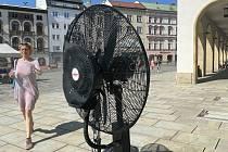 Vedro v centru Olomouce - vodní osvěžovadlo na Horním náměstí, 18. června 2021