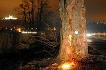 Místo tragédie u Samotišek, kde náraz do stromu zabil čtyři mladé lidi.