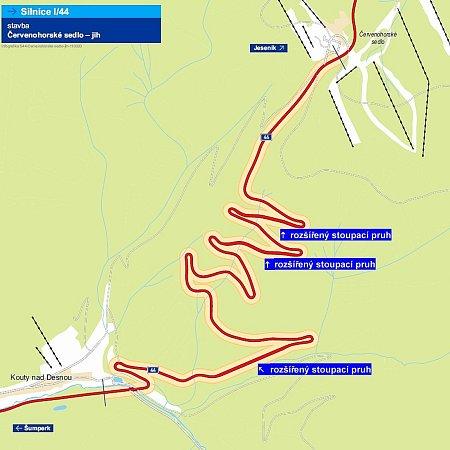 Oprava silnice na Červenohorské sedlo - rozšířené úseky