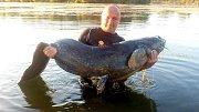 Rybář Petr Pavlas z Olomouce - Chomoutova ulovil sumce velkého měřícího 220 centimetrů.