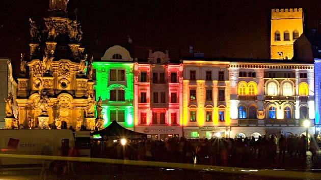 Světelná show na památkách na Horním náměstí v Olomouci. Ilustrační foto