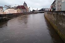 Zvýšená hladina řeky Morava v Olomouci. 5. 2. 2020